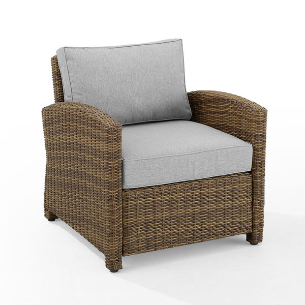 Bradenton Weathered Brown and Gray Outdoor Wicker Armchair, image 6