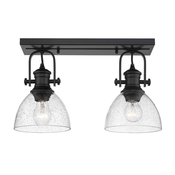 Hines Black Two-Light Semi-Flush Mount With Seeded Glass, image 1