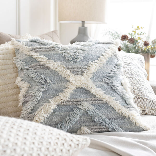 Baracoa Beige, Pale Blue and Light Gray 22-Inch Pillow, image 2