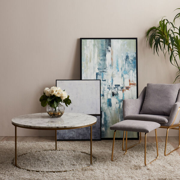 Marmo Faux Marble and Brass Round Coffee Table with Faux Marble, image 3
