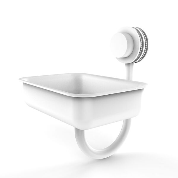 Venus Matte White Five-Inch Wall Mounted Soap Dish with Dotted Accents, image 1