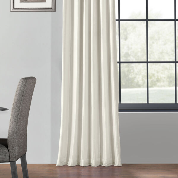 Off White 50 x 96-Inch Blackout Vintage Textured Faux Dupioni Silk Curtain, image 5