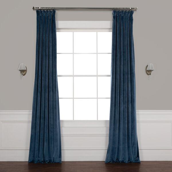 Blue 108 x 50 In. Plush Velvet Curtain Single Panel, image 1