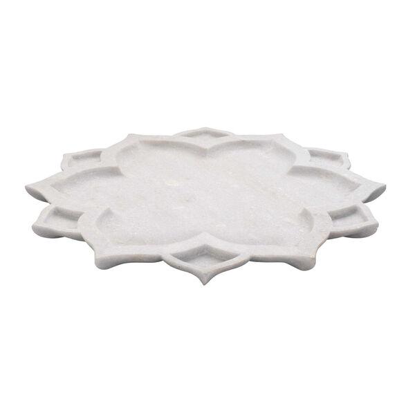 White Marble Lotus Serving Platter, image 1