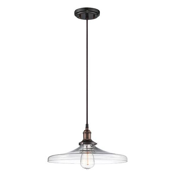 Vintage Rustic Bronze One-Light 14-Inch Wide Dome Pendant with Curved Clear Glass, image 1