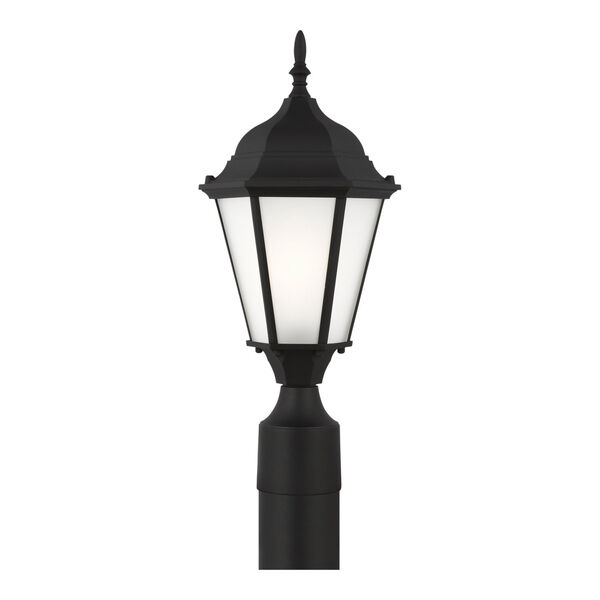 Bakersville Black One-Light Outdoor Post Mount with Satin Etched Shade Energy Star, image 1
