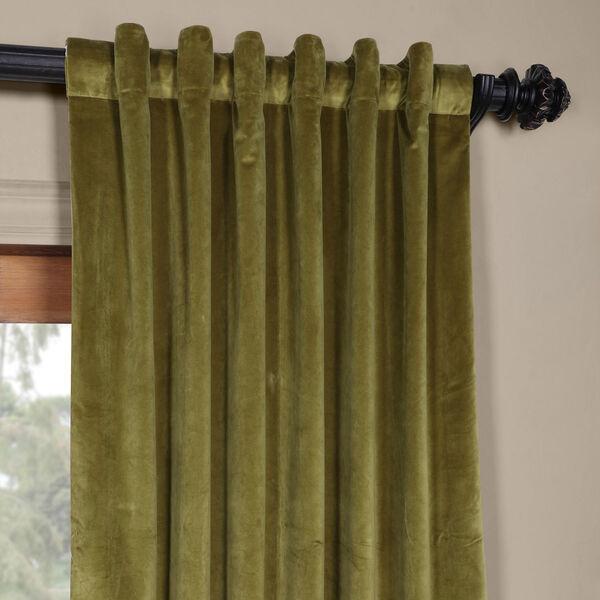 Green 84 x 50 In. Plush Velvet Curtain Single Panel, image 4