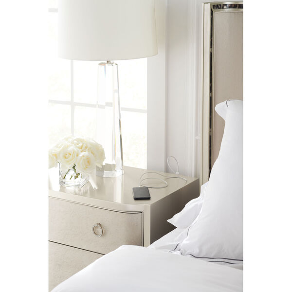 Caracole Classic Soft Silver Paint and Smoked Birdseye Perfect Match Nightstand, image 4