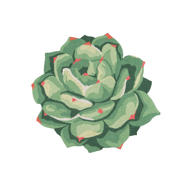 Cucina Succulent Green Round: 3 Ft. x 3 Ft. Round Rug, image 1