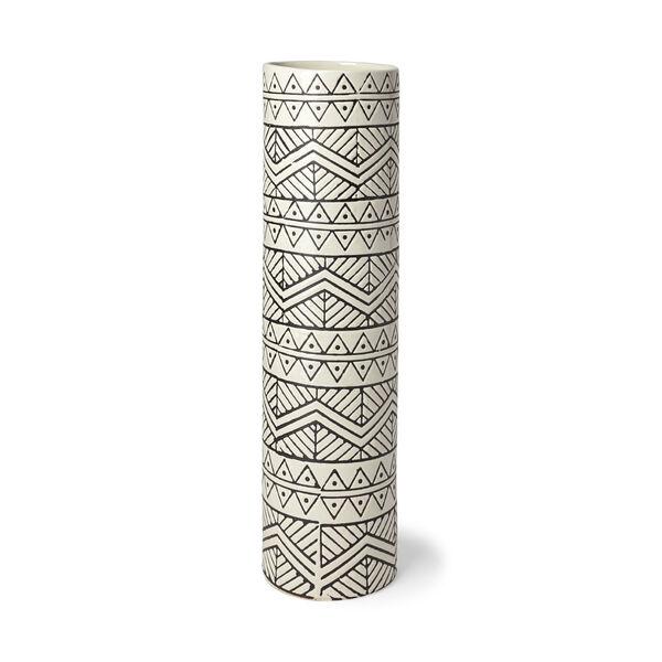 Uhura II Cream and Black Cylindrical Ceramic Vase, image 1