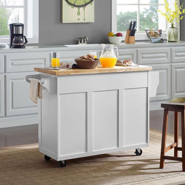 Elliot White MDF and Birch Veneer Kitchen Cart, image 6