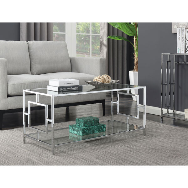 Town Square Coffee Table in Clear Glass and Chrome Frame, image 1
