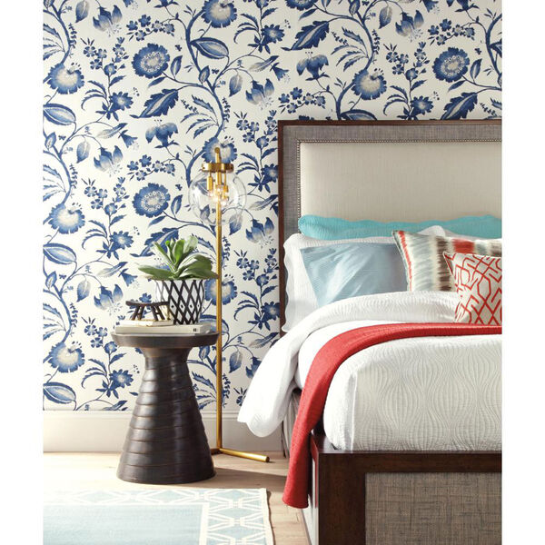 Ashford House Tropics Off-White and Blue Watercolor Jacobean Wallpaper, image 2