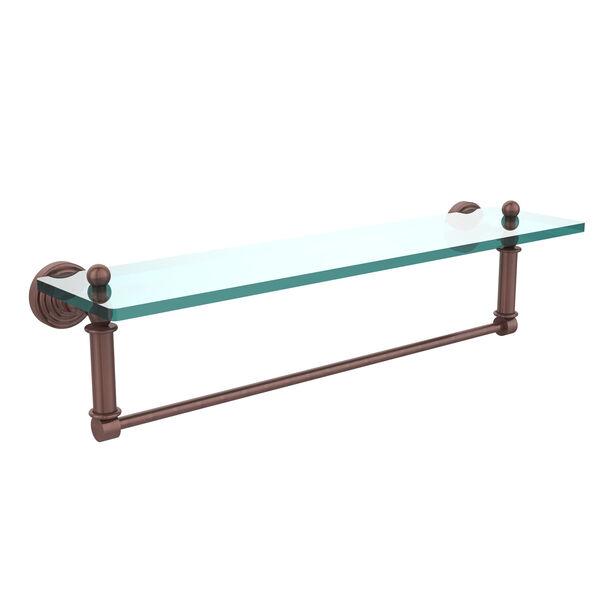 Waverly Place Antique Copper 22x5 Glass Shelf w/ Towel Bar, image 1
