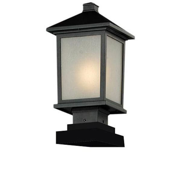 Holbrook One-Light Black Outdoor Pier Light with White Seedy Glass Panels, image 1