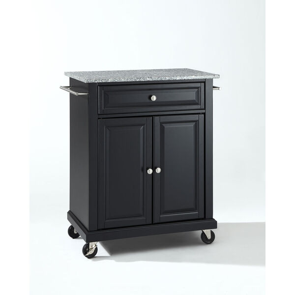 Solid Granite Top Portable Kitchen Cart/Island in Black Finish, image 1