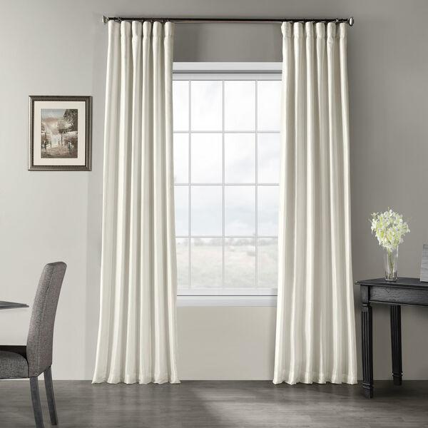 Off White Vintage Textured Faux Dupioni Silk Single Panel Curtain, 50 X 96, image 1