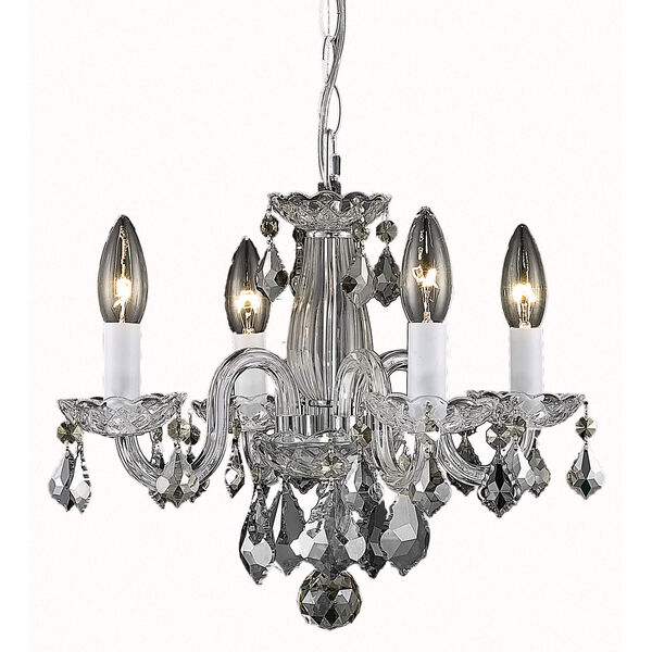 Rococo Chrome Four-Light Chandelier with Clear Royal Cut Crystals, image 1