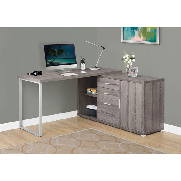 Dark Taupe Left Or Right Facing Computer Desk, image 1