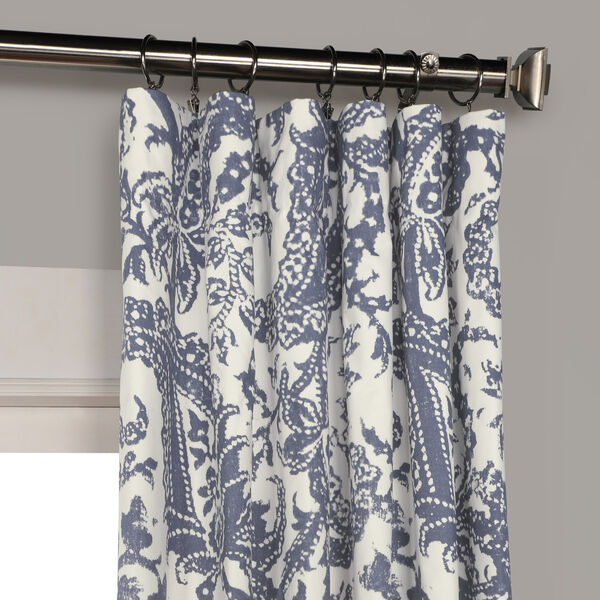Edina Blue 120 in. x 50 in. Printed Cotton Curtain Panel, image 2