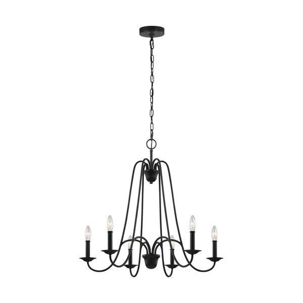 Boughton Antique Forged Iron Six-Light Chandelier, image 1