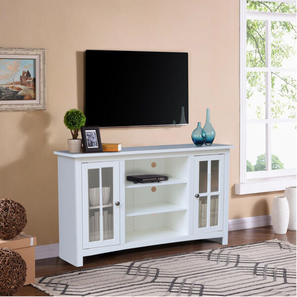 White 48-Inch TV Stand with Two Door, image 1