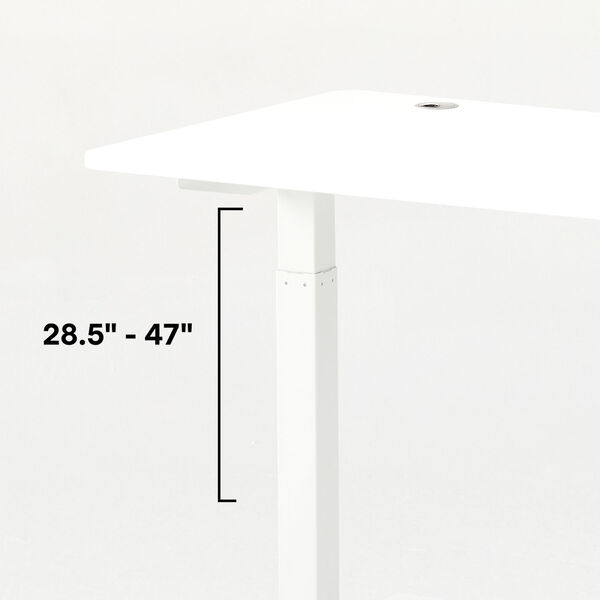 Autonomous White Frame Bamboo Classic Top Adjustable Height Standing Desk, image 4