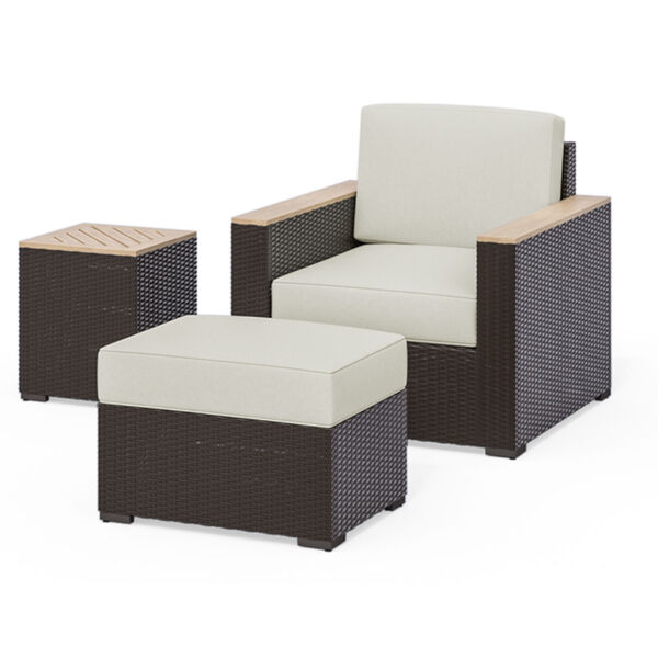 Palm Springs Brown Rattan Wood Three-Piece Outdoor Furniture Set, image 1