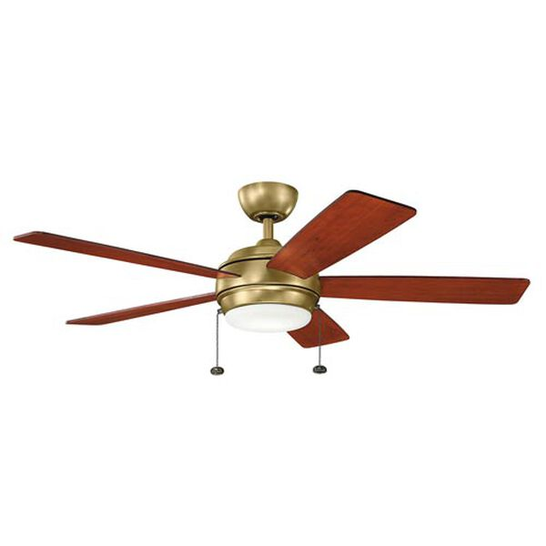 Gladstone Natural Brass 52-Inch LED Ceiling Fan with Light Kit, image 1