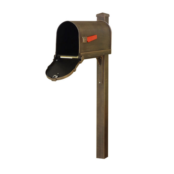 Savannah Curbside Copper Mailbox and Wellington Direct Burial Mailbox Post Smooth, image 3