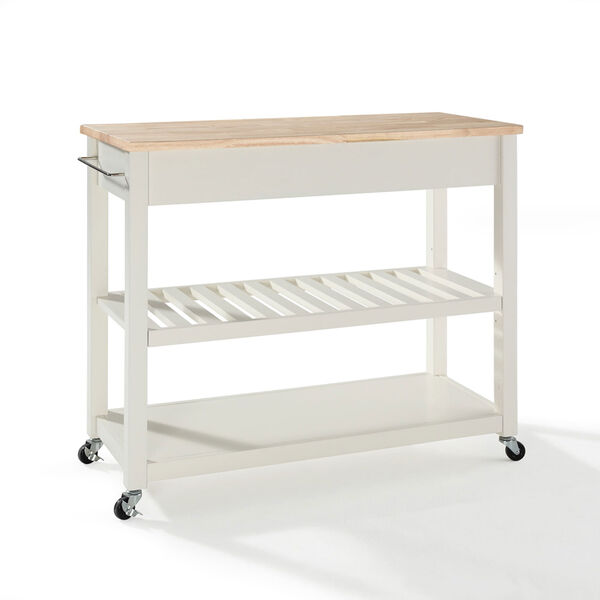 Natural Wood Top Kitchen Cart/Island With Optional Stool Storage in White Finish, image 2