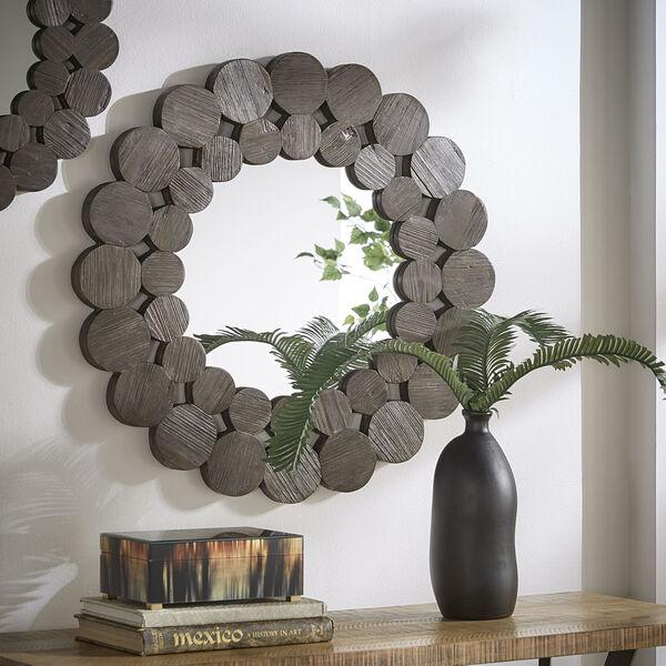 Katherine Dark Brown Reclamied Wood 32-Inch Round Wall Mirror, image 1