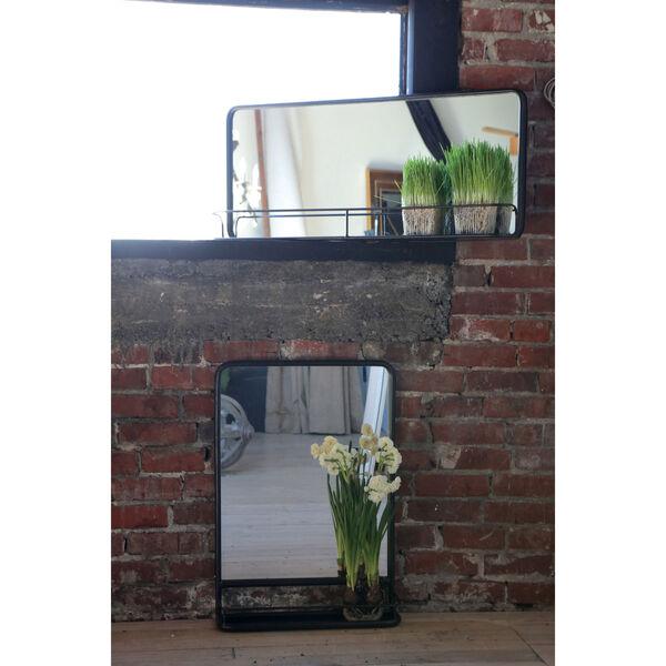 Rectangular Metal 36 x 16 In. Framed Mirror with Shelf, image 1