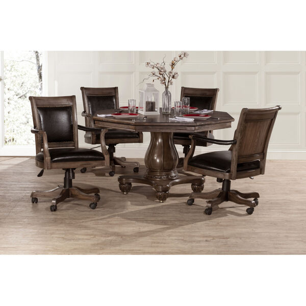 Kingston Weathered Walnut And Black Leather Wooden Desk Chair With Arm And Caster, image 7