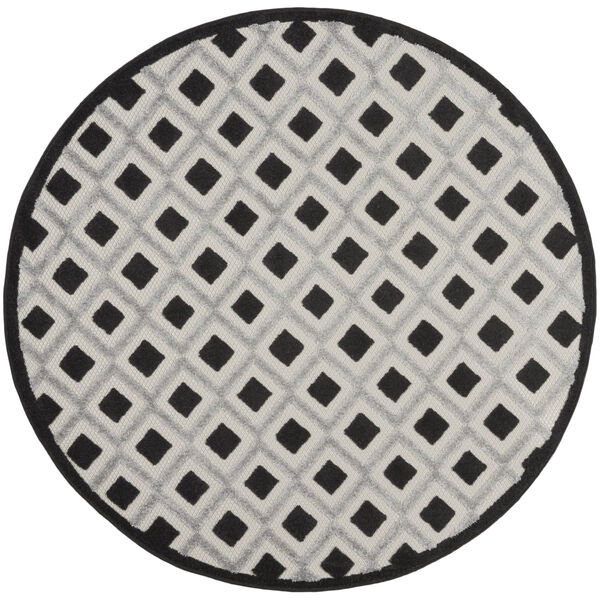 Aloha Black and White 4 Ft. x 4 Ft. Round Indoor/Outdoor Area Rug, image 2
