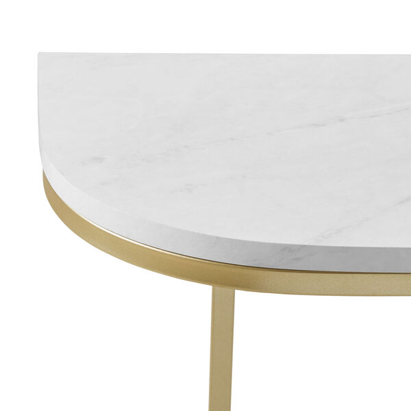 White Faux and Gold 44-Inch Curved Entry Table, image 2