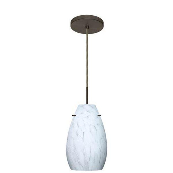 Pera 9 Bronze One-Light LED Mini Pendant with Carrera Glass, Flat Canopy, image 2
