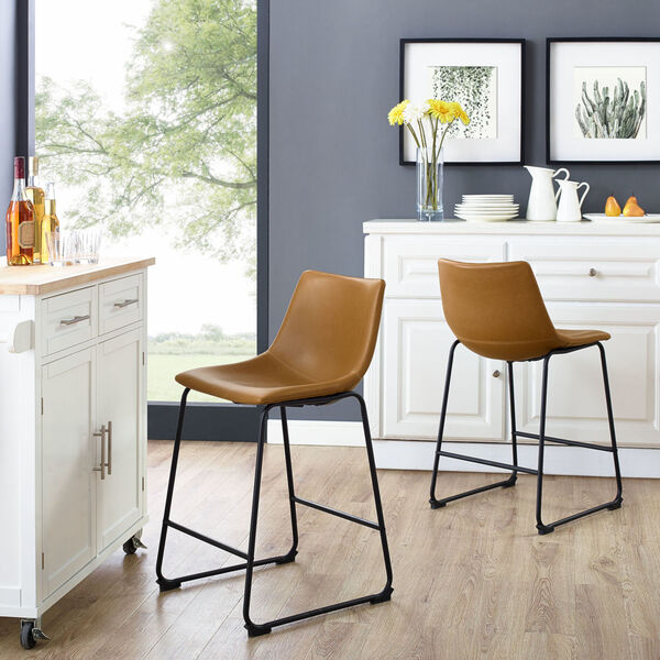 Whiskey Brown Counter Stool, set of 2, image 1