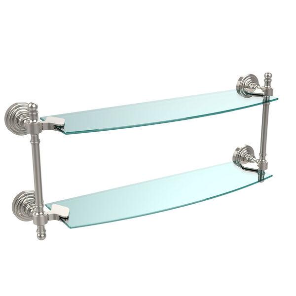 Retro Wave Polished Nickel 18 Inch Double Glass Shelf, image 1