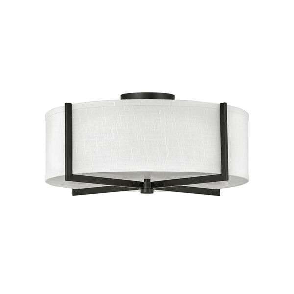 Axis Black Three-Light LED Semi-Flush Mount with Off White Linen Shade, image 1