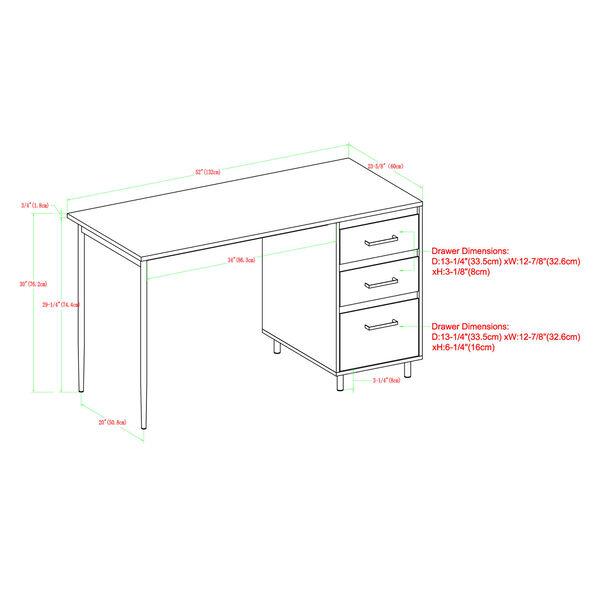 Ingrid Dark Walnut Three Drawer Desk, image 6