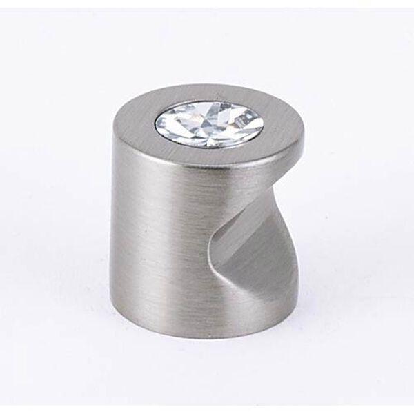 Contemporary Satin Nickel 3/4-Inch Crystal Knob, image 1
