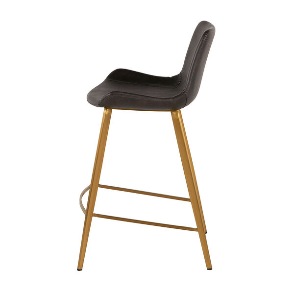 Hines Charcoal Brown and Stainless Gold 26-Inch Counter Height Stool, image 4