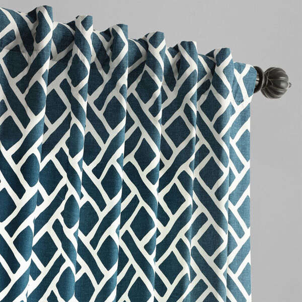 Navy Blue 120 x 50 In. Printed Cotton Twill Curtain Single Panel, image 4