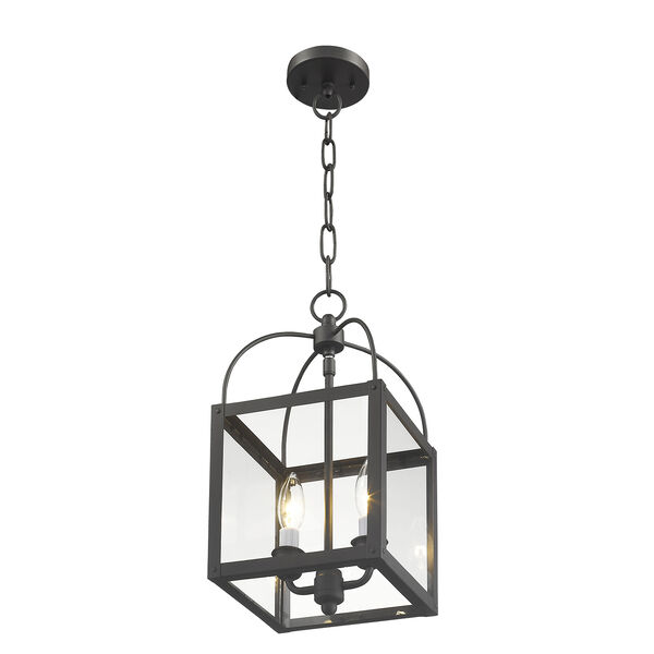 Milford Bronze Two-Light 15-Inch Convertible Pendant with Clear Glass, image 6
