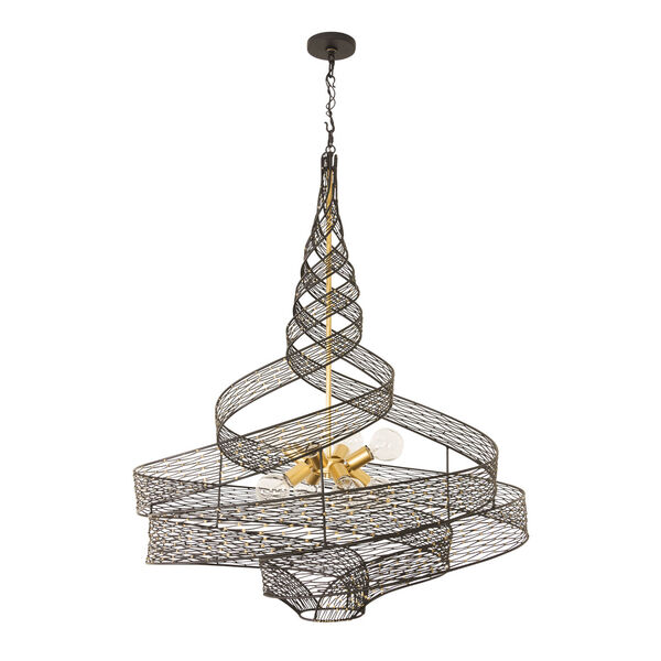 Flow Matte Black French Gold Eight-Light Chandelier, image 4