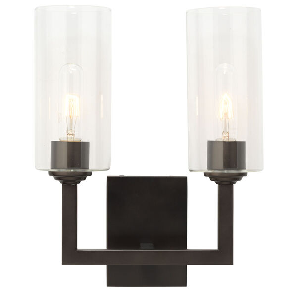 Linear Oil Rubbed Bronze Two-Light Wall Sconce, image 2