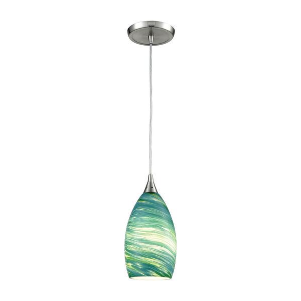 Collanino Satin Nickel Five-Inch One-Light Mini Pendant with Aqua Swirl Blown Glass, image 1