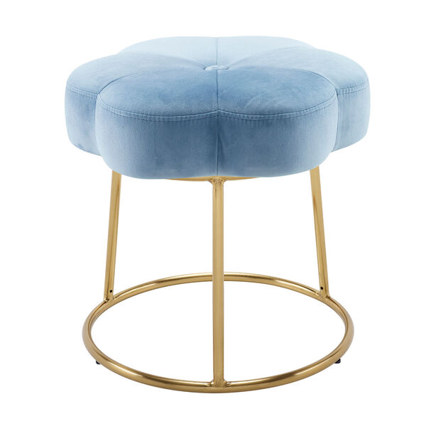 Max Gold Blue 18-Inch Vanity Stool, image 1