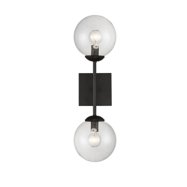 Uptown Black Globe Two-Light Wall Sconce, image 1